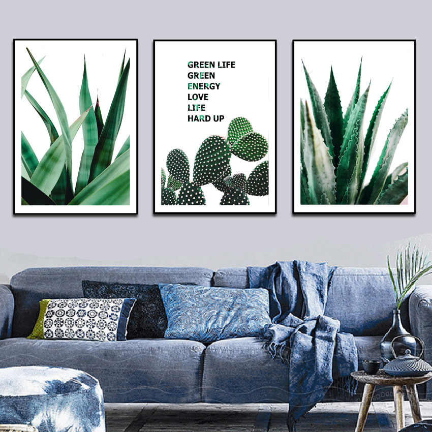 Nordic Canvas Painting Modern Prints Plant Leaf Art Posters Prints Green Art Wall Pictures Living Room Unframed Poster FA854
