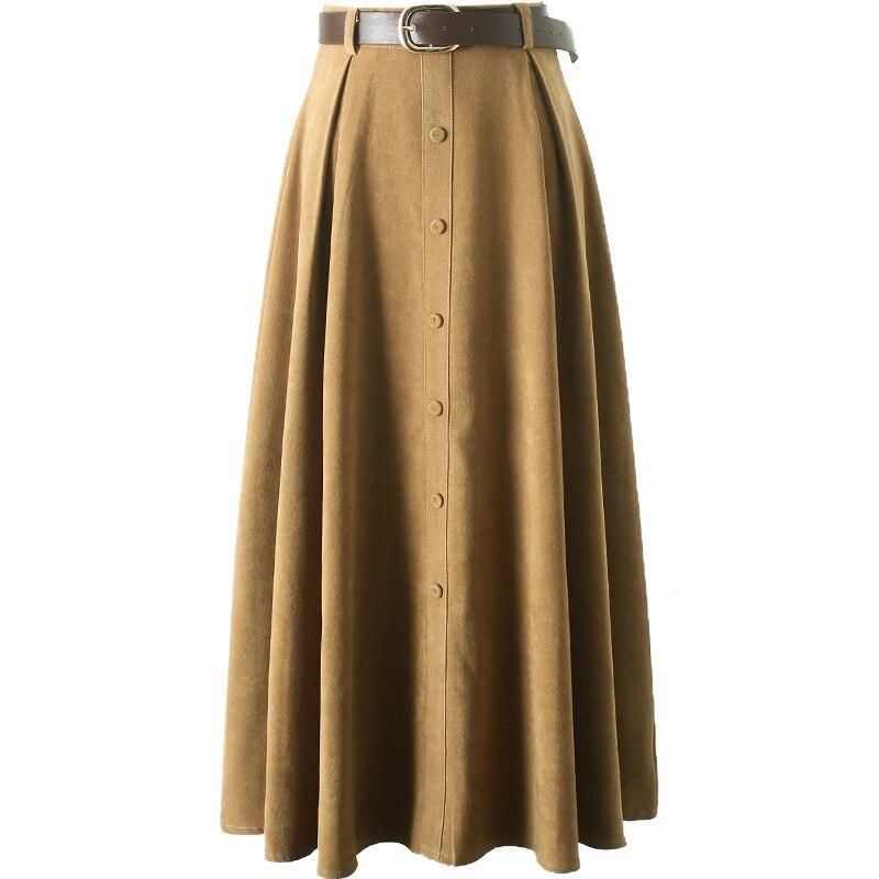 fc16a03de4b Detail Feedback Questions about girl skirts Spring autumn winter new belt  belt single breasted plush face high waist A word long skirt 625 women on  ...
