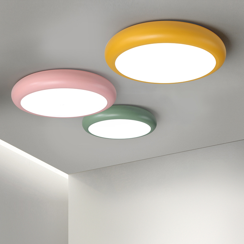 New Arrival Round Pink/Green/Yellow/White/Black Color Living Room bedroom Study Room Ceiling Lights Modern Led Ceiling Lamp black or white rectangle living room bedroom modern led ceiling lights white color square rings study room ceiling lamp fixtures