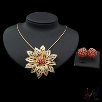 Yulaili Free Delivery Crystal Flower Design High Quality Necklace Earrings Two Jewelry Sets