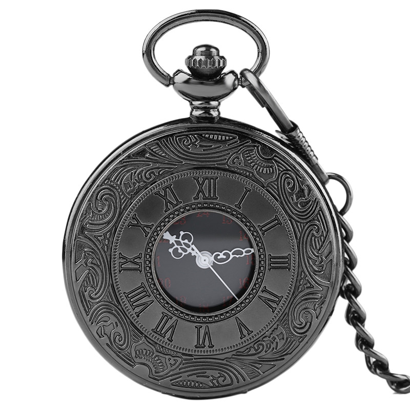 Fashion Charm Black Unisex Necklace Roman Number Classic Steampunk Quartz Pocket Watch Women Man Pendant with Short Chain Gifts fashion vintage charm black smooth steampunk pocket watch men women necklace pendant clock chain with gift box birthday gifts