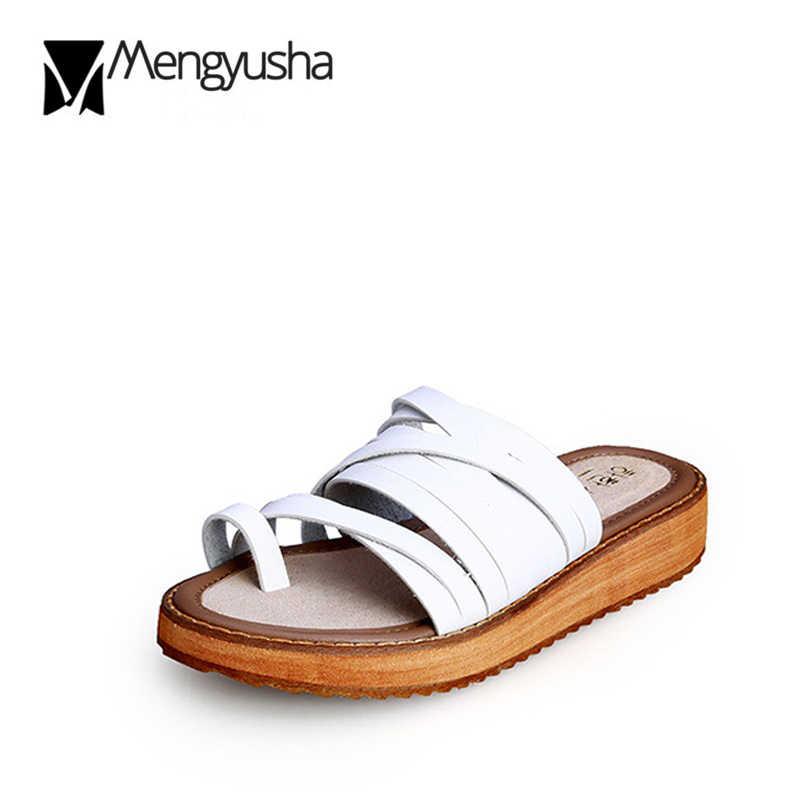 Microfiber Slippers Woman Flip flops Narrow Band Cross Strap Sandals Women Summer Three color Plus size 42/43 Flatform Sandalias