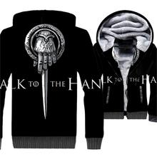 Talk To The Hand Of King Game Thrones 3D Hoodies Men New 2019 Winter Jackets Casual Fleece Coat Brand Sweatshirt