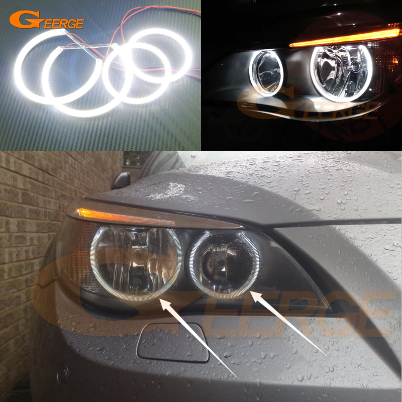 For BMW E60 E61 520i 525I 530I 540I 545I 550I M5 2003-2007 Halogen headlight Excellent DRL Ultra bright smd led angel eyes kit for bmw 5 series e60 m5 e61 car front headlamp housing clear lens shell cover for bmw 525i 530i 528i 535i 540i 550i 545i n001