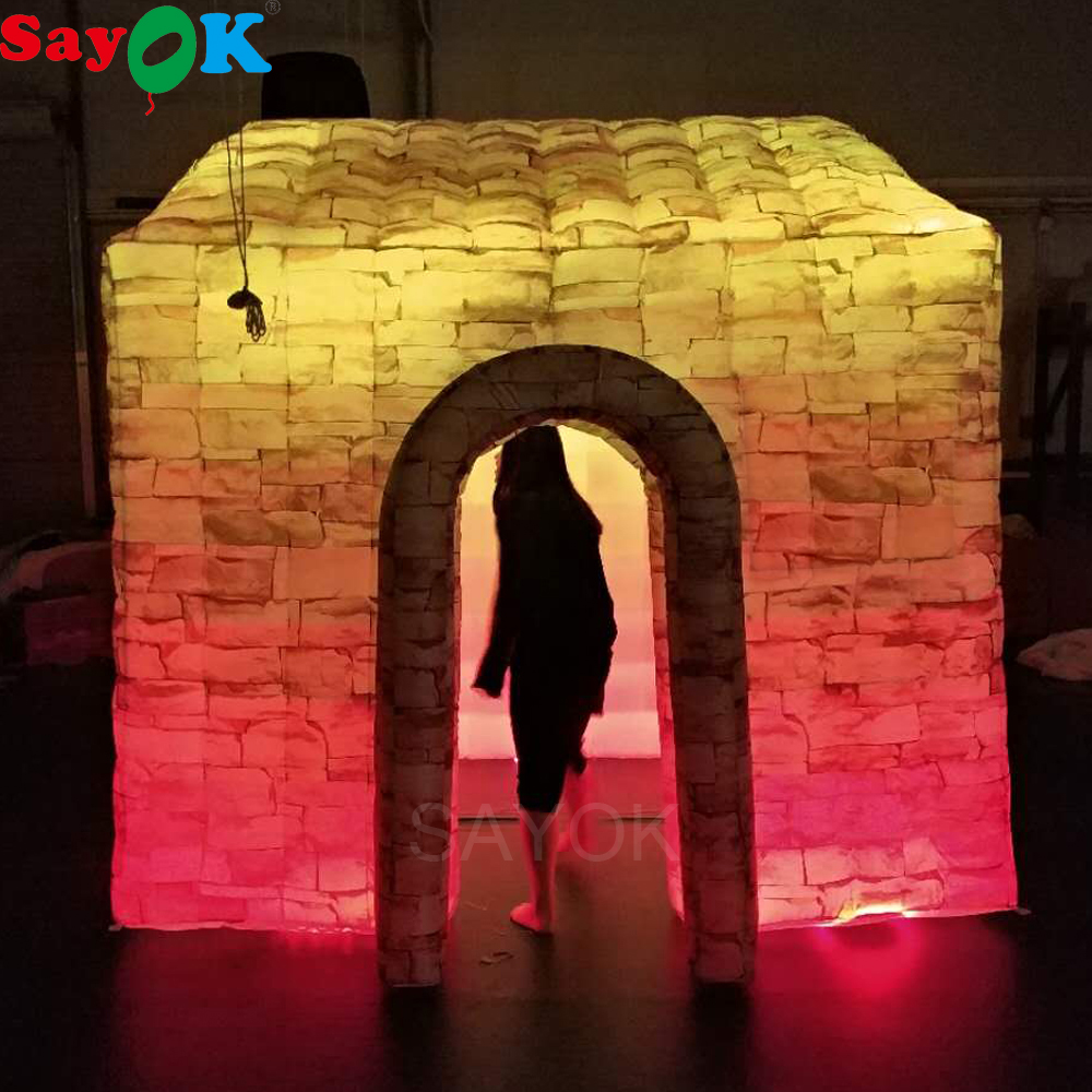 Sayok Full Printing Inflatable Photo Booth Enclosure Romantic Cabin House Single Door with 2 LED Strip Lights for Wedding PartySayok Full Printing Inflatable Photo Booth Enclosure Romantic Cabin House Single Door with 2 LED Strip Lights for Wedding Party