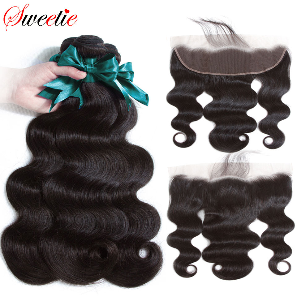Sweetie Hair Peruvian Body Wave Bundles With Frontal 13X4 Ear To Ear Lace Frontal Closure With