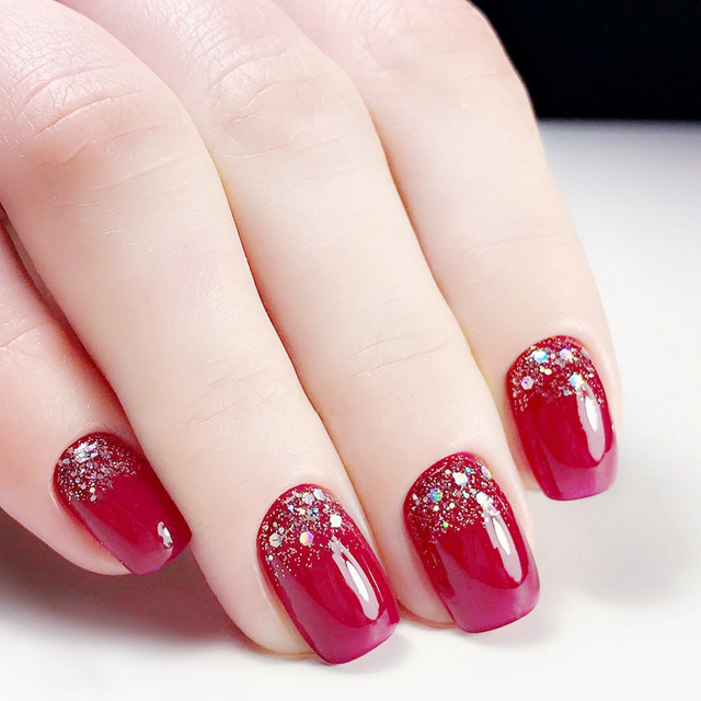 Top Quality Charming Red Fake Nail With Glitter 24pcs/set Acrylic ...