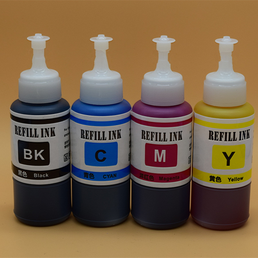 4 Color Dye Based Refill Ink Kit For Epson L100 L110 L120 L132 L210 Tinta L200 L220 L300 L310 L360 X 70ml Kits L101 L111 L130