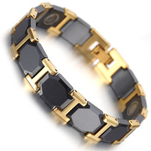 2017 Fashion Jewelry Mens Tungsten Bracelet, Gold & Black Health Care Link Chain with Magnets KB1499