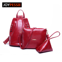Joypessie Мода девушка мягкая школьная сумка женская кожаный рюкзак для отдыха 3 шт. Рюкзак Комплект Дорожная сумка из искусственной кожи сумка