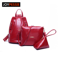 Joypessie 2016 New Arrival Women Backpack Leisure 3pcs Set Backpack Traval Bag Pu Leather Lady Shoulder