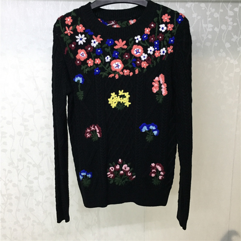 Women Sweaters And Pullovers Autumn O neck Lady Long Sleeve Sweater 2018 Casual Black Floral Sweater Women