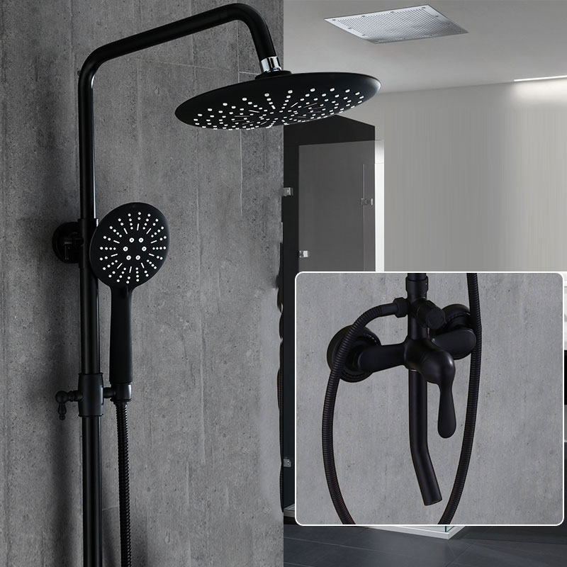 mesmerizing black bathroom shower | European style black round shower system bathroom faucet ...