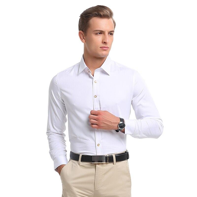 2018 hommes bouton de diamant à manches longues chemise mâle affaires décontracté Slim cuivre bouton robe petit haut de qualité marié chemise de mariage - 5