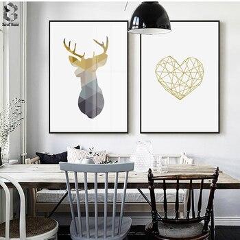 Nordic płótnie plakaty i reprodukcje Wall Art geometryczne Deer malowanie zdjęcia ścienny do dekoracji wnętrz, złote serce dekoracje ścienne