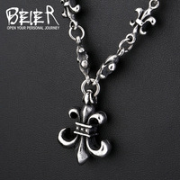 Beier 316L Stainless Steel Ancient Necklaces 8mm Wide Punk Cross Man Necklace BN QC51