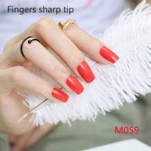 24pcs New hot sell fashion Long section Square head candy false nails decoration red M 059
