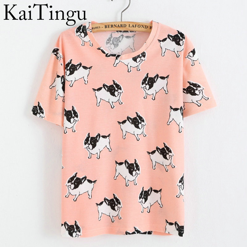 KaiTingu Brand New Fashion Spring Summer Style Harajuku T Shirt Women Clothes Tops O-Neck Tee Shirts Funny Dog Print