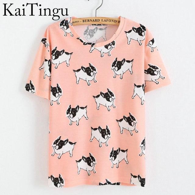 KaiTingu Marca Nova Moda Primavera Verão Estilo Harajuku T Shirt Mulheres Roupas Tops O-Neck Camisetas Impressão Cão Engraçado