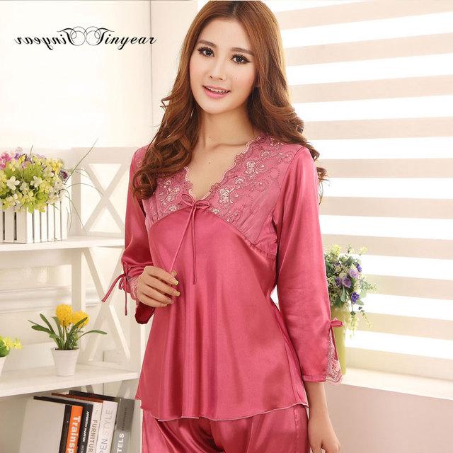 Melhor qualidade senhora pijama de seda definir o tamanho grande respirável macio pijamas das mulheres 2016 roupa do verão super fino com laço Com Decote Em V