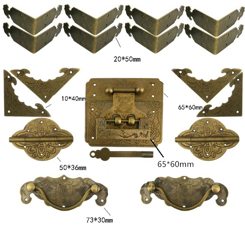 Chinese Vintage Brass Lock Set For For Wooden Box,Vase Buckle Hasp Latch Lock+ Hinge+Corner+Handle,Bronze Tone charm with lock buckle trumpet thickened wooden padlock hasp lock buckle buckle piece luggage accessories wooden doors