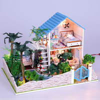 13832 Hongda large diy wooden dollhouse miniature villa doll house LED lights miniatures for decoration toys gifts