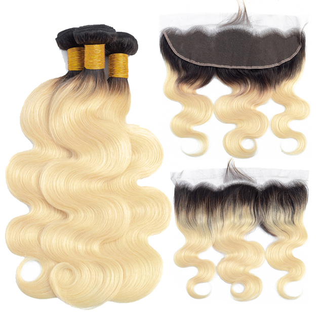 Bundles with Frontal Brazilian Body Wave Remy Human Colored Hair Extensions