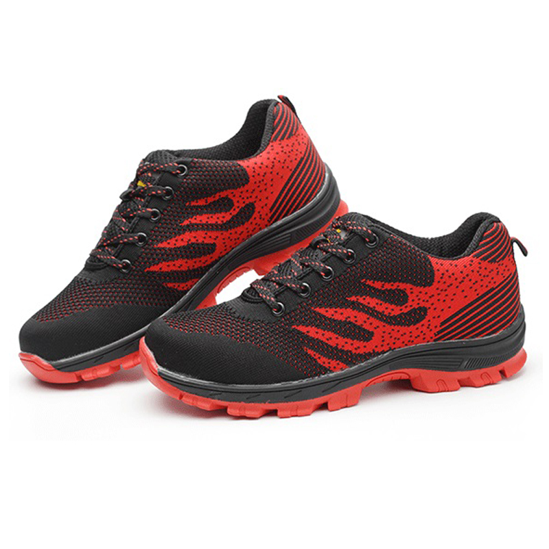 Safety shoes Protective shoes flying mesh electric embroidered shoe uppe breathable lightweight punctured and pierced
