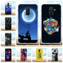 For Samsung Galaxy A6 Plus 2018 Cover Soft TPU A9 Star Lite Case Moon Patterned Jean Coque