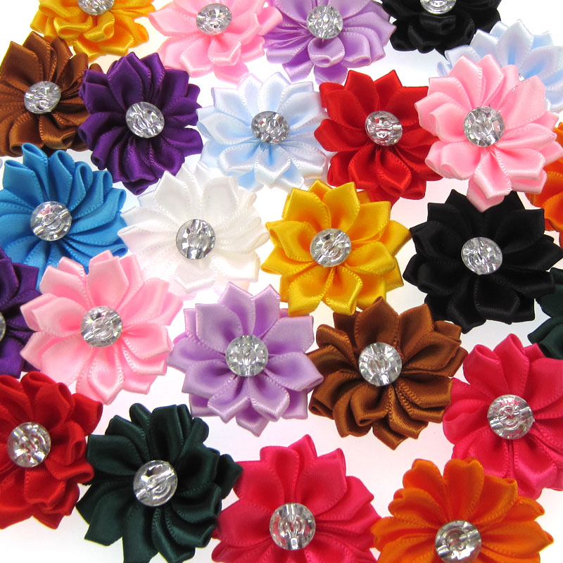 12Pcs Satin Ribbon Flowers with Rhinestone Multilayers Fabric Flowers Appliques Accessories Sewing Wedding DIY 4 0cm in Artificial Dried Flowers from Home Garden