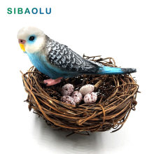 Simulação de estatueta de animais, faça você mesmo, papagaio, pássaro, ninho de ovo, estatueta bonsai, decoração de casa, miniatura, acessórios de decoração de jardim