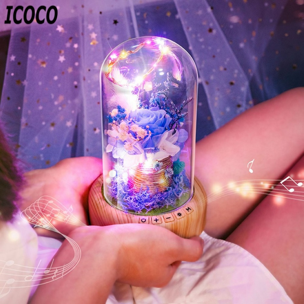 Rose Streamer Bottle LED Night Light Rechargeable Wireless Bluetooth Speaker with Flower in Glass Decoration Table Lamp