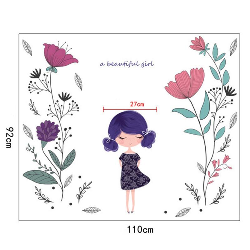 Ручная роспись цветы девушка стены Стикеры Водонепроницаемый наклейки Home Decor для дет ...