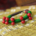 FREE SHIPPING Rich Ethnic Bracelet Tibetan Style Jewelry Red Coral & Green Chinese Silk Strings Original Quality Ethnic Jewelry