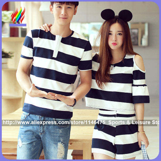 cbe527044d Summer Couples Lovers Clothes Cute Sweet Tops Hollow Out Off Shoulder  Striped Girl Two Piece Matching Couple T Shirt -in T-Shirts from Women's  Clothing on ...