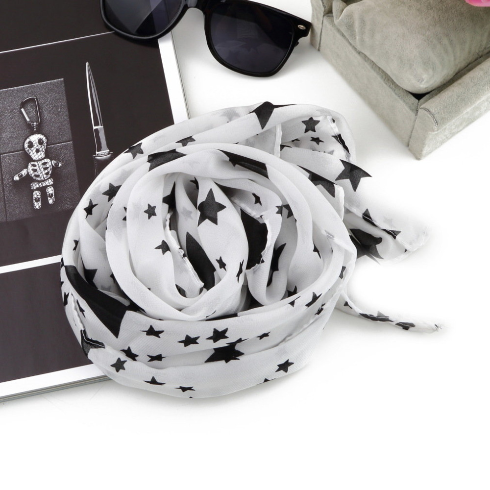 Girls Winter Autumn Necessity Black White Stars Scarf Chiffon Scarf Large Shawl Soft Comfortable Fashion Accessories