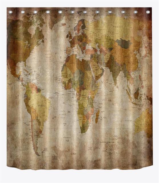 72u0027u0027 Custom Old Times Retro World Map Political Regions Bathroom Shower  Curtain Polyester Bathroom