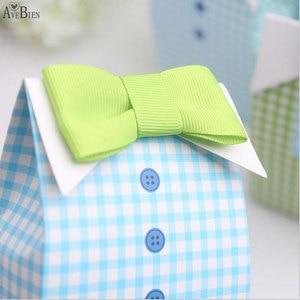 Image 3 - 50 adet benim küçük adam mavi yay yeşil kravat doğum günü İlk Communion erkek bebek duş şeker çanta düğün iyilik şeker kutu hediye keseleri