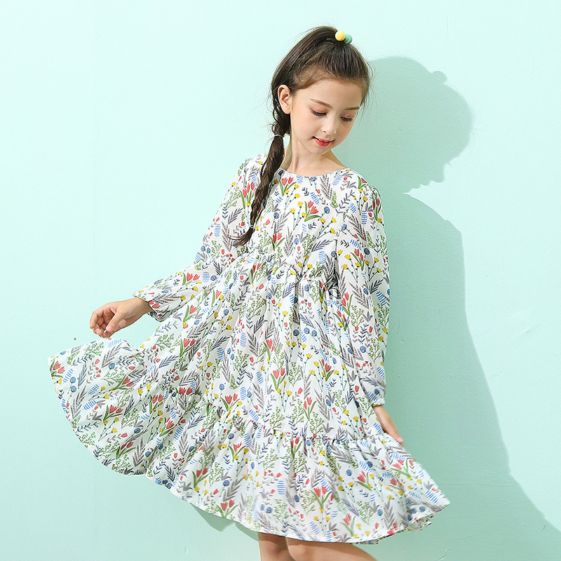 ruffles floral print birthday princess dresses girls teenagers baby girl dress long sleeve party kids dresses for girls fashion