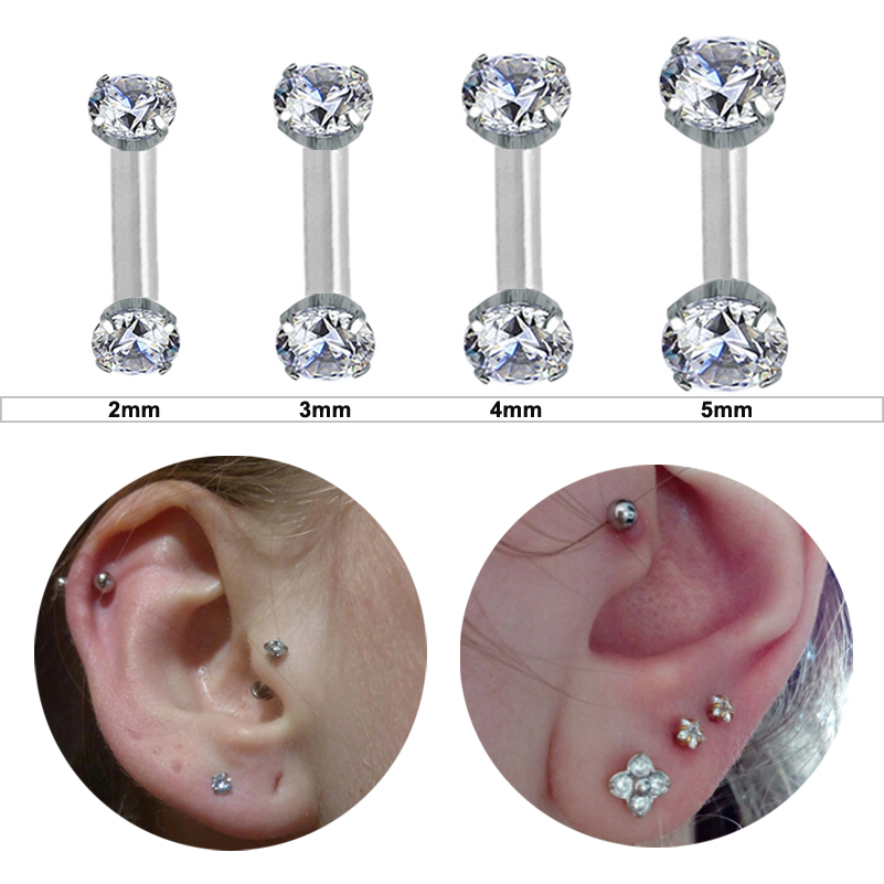 Starbeauty 2pcs/lot 1.2x6mm Round Star Helix Piercing Tragus Piercing Orelha Nose Ring White Crystal Ear Piercing Body Jewelry