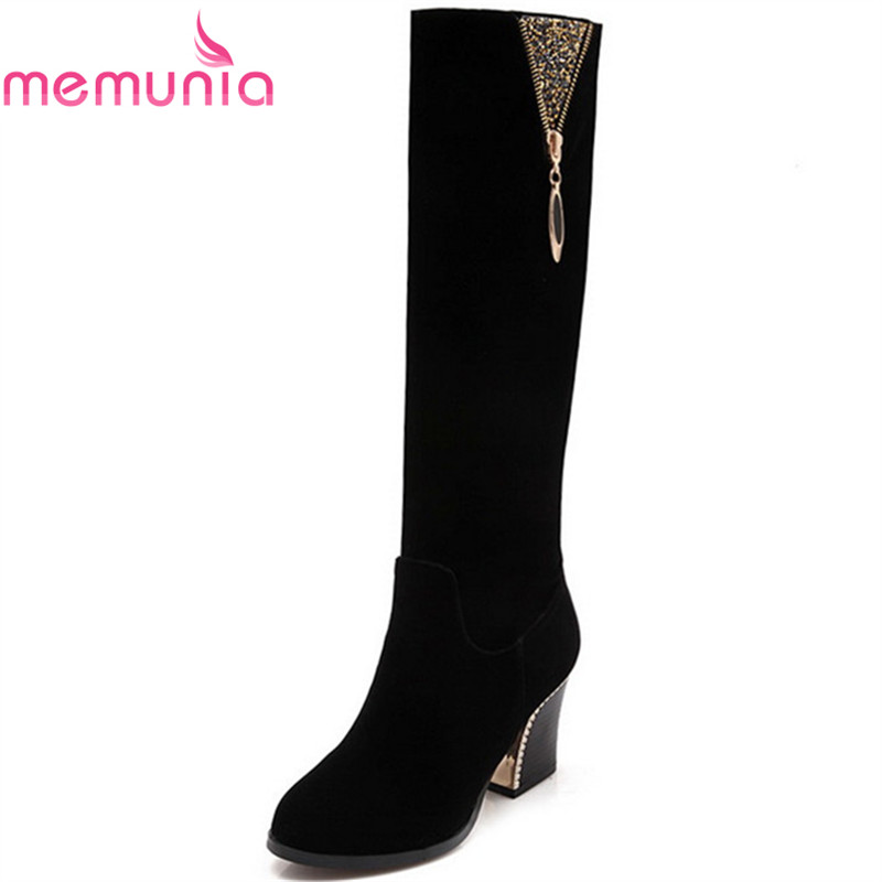 MEMUNIA High heels shoes woman autumn winter knee high boots flock zipper fashion shoes woman elegant big size 34-43 morazora fashion punk shoes woman tassel flock zipper thin heels shoes ankle boots for women large size boots 34 43