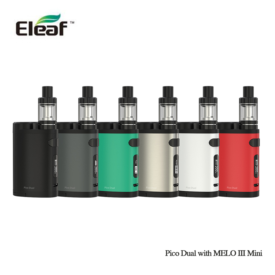 Prix pour 100% d'origine eleaf Pico Double avec MELO III Mini 200 w mod 18650 batterie 2 ml MELO III Mini réservoir vs istick pico