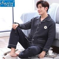Mens Winter Pajamas Three Layers Of Cotton Thicken Male Sleepwear Buckle Turn Down Collar Long Sleeve