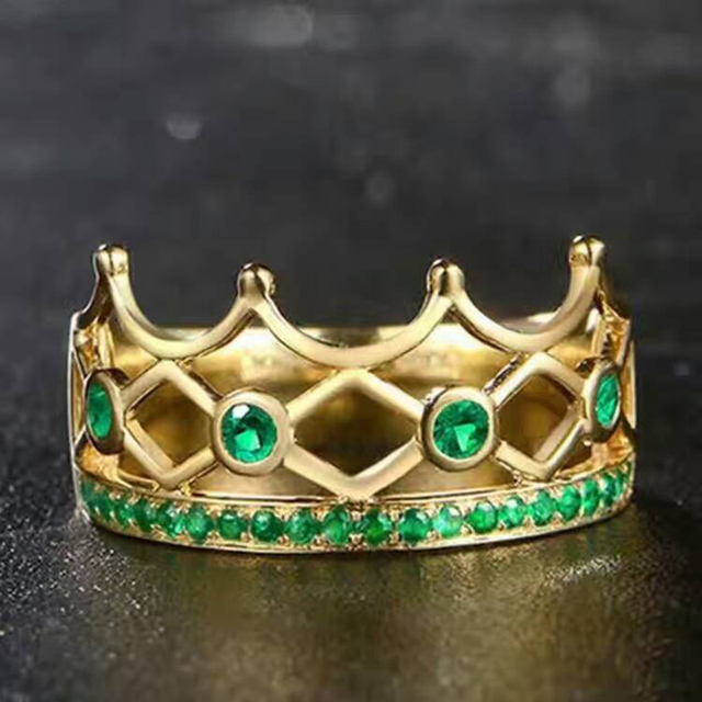 Classic gemstone crown ring 4pcs 3mm 13 pcs 2*2mm natural emerald silver king ring solid 925 classic emerald royal ring for man