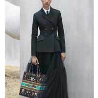 Cosmicchic для женщин Мода Взлетно посадочной полосы черный блейзер с длинным рукавом двубортный пиджак Дизайнер Элегантный 2019SS
