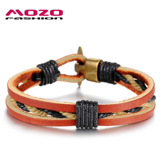 Mozo Fashion Men Bracelet Brown Leather Cord Chain Weave Rope Casual Bracelets Vintage Male Jewelry Accessories