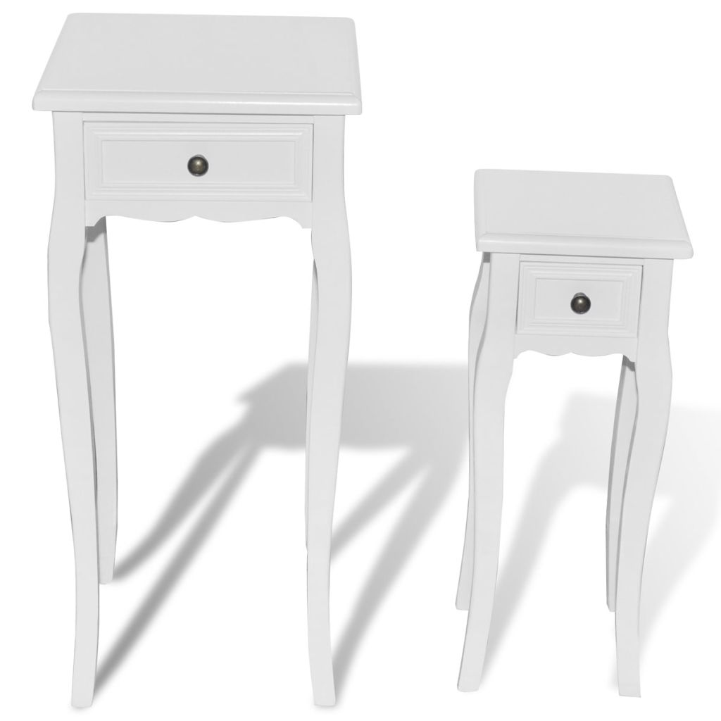 VidaXL White Telephone Side Table With Drawer 2 Pcs In Sideboards From  Furniture On Aliexpress.com | Alibaba Group