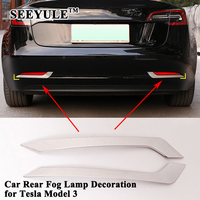 2pcs/set SEEYULE Styling Car Rear Fog Lamp Trim Cover Decoration Frame Sequin Sticker Car Exterior Accessories for Tesla Model 3
