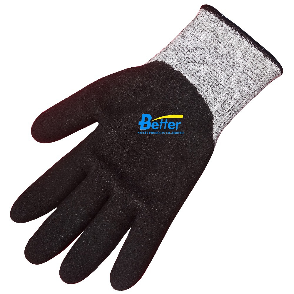2 Pairs HPPE Gloves Fiberglass Safety Gloves Nitrile Sandy Dipped Cut Resistant Work Glove