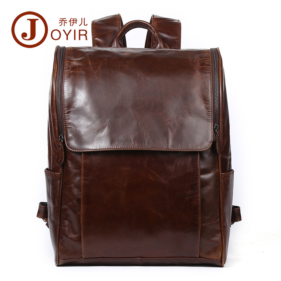 JOYIR Vintage 2017 Men Backpacks Genuine Leather Men's Travel Bag Man computer Backpack Casual Business Male shoulder Laptop bag genuine cow leather vintage casual mens women backpack shoulder crossbody bags men travel backpacks for man school laptop bag